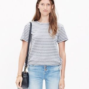 Madewell Side-Tie Blue and Cream Striped Tee
